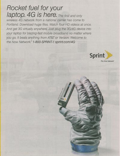 Sprint 4G ad in Portland Business Journal