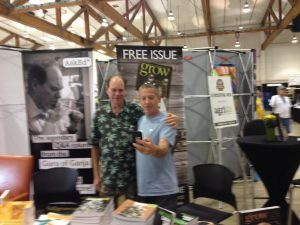 Author Ed Rosenthal poses for a photo with a cannabis fair visitor.